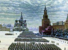 К. Юон. Парад на Красной площади 7 ноября 1941 года.