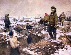 Н. Осенев. Комсомольцы на строительстве оборонительных рубежей под Москвой.