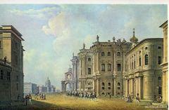 Вид Дворцовой площади со стороны Миллионной улицы