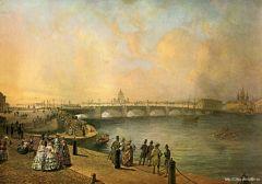 Вид Благовещенского моста с набережной Васильевского острова