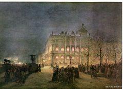 Вид Зимнего дворца ночью