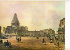 Вид строящегося Исаакиевского собора и площади