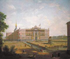 Вид на Михайловский замок и площадь Коннетабля в Петербурге. Около 1800.jpg