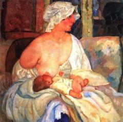 Мать (Е. Г. Григорьева, жена художника, с сыном Кириллом). 1915г