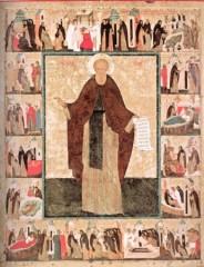Преподобный Кирилл Белозерский, с житием в двадцати одном клейме. Дионисий и мастерская. Начало XVI века