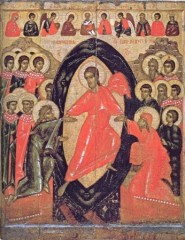 Сошествие во ад, с Деисусом и избранными святыми. Конец XIV –середина XV века
