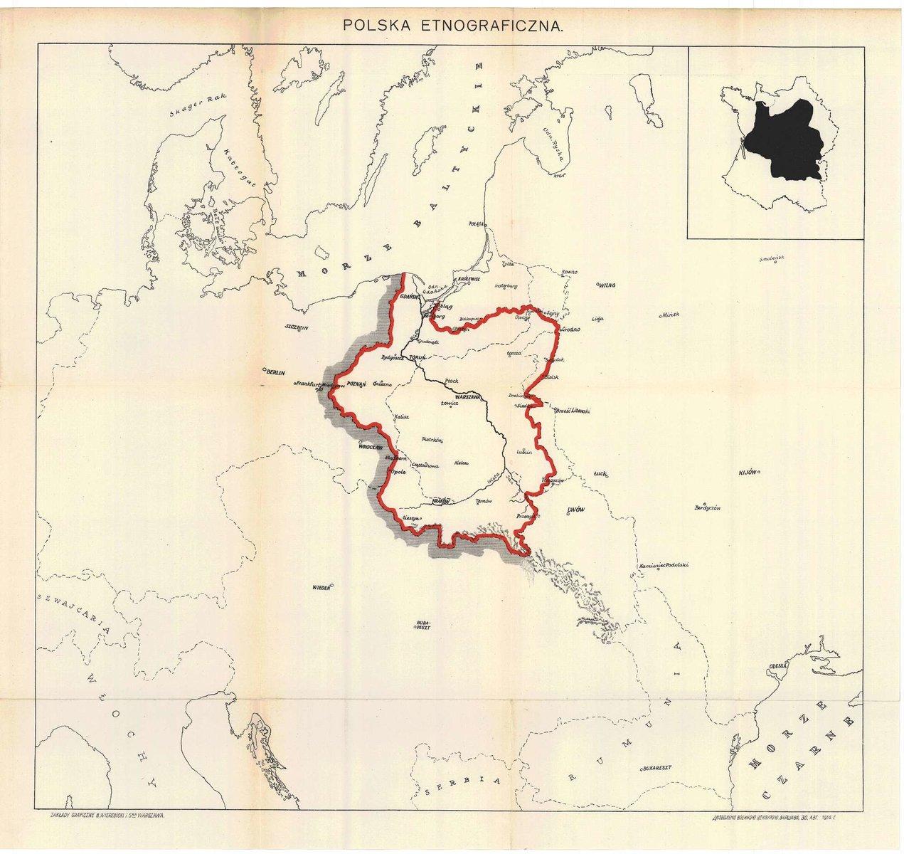 Этнографическая карта поляков (Польши), 1914.