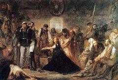 Ян Матейко, Польша 1863 (Польша закованная). Полонию-Польшу заковывают в цепи русские солдаты перед отправкой в Сибирь.