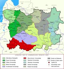 Административное деление ВКЛ в 1654 г.