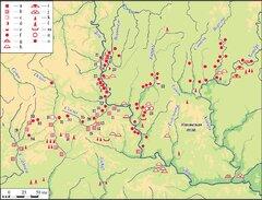 Карта-схема расположения археологических памятников IX—XVII вв. в Среднем Подонье.