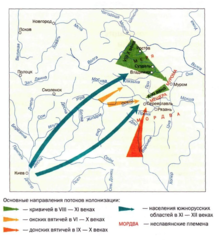 Карта восточнославянской колонизации на земли финно-угорских аборигенов.