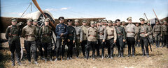 Авиаторы XVI корпусного авиационного отряда. Торжественное построение в день Святого Илии праздника авиации и воздухоплавания. 20 июля 1915 г.
